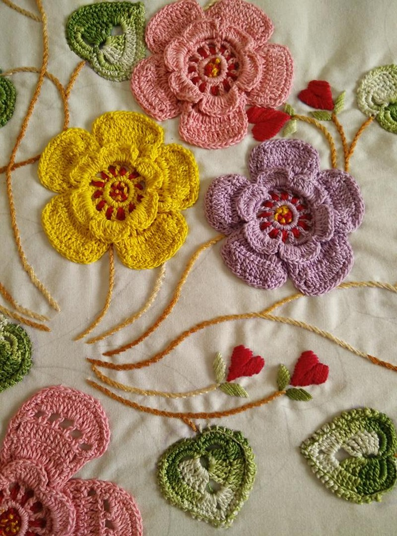 Crocheted & Hand Embroidery Bedspread