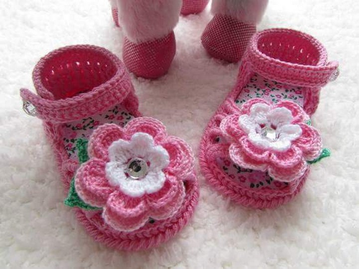 Baby Girls Crochetknitted Mary Jane Shoes Handmade Baby Crochet