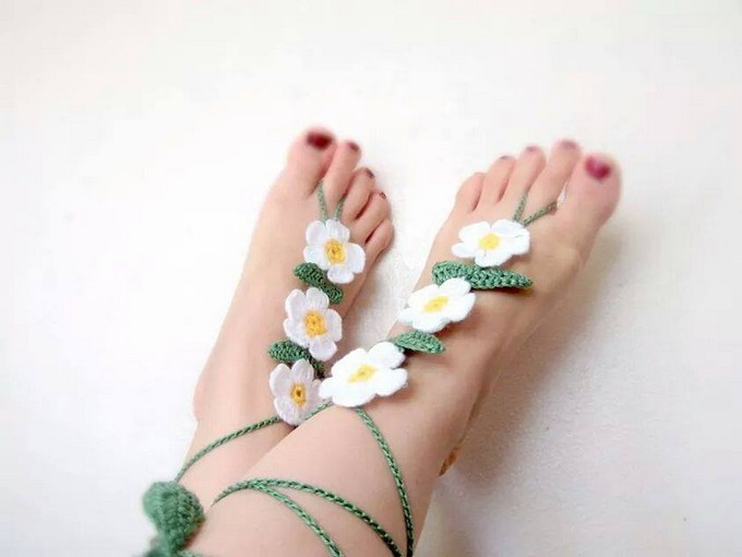 Pretty Ideas for Crochet Barefoot Sandals