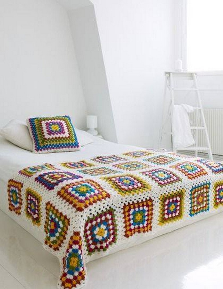 Bed sheet design patchwork - Crochet Bedsheet 34