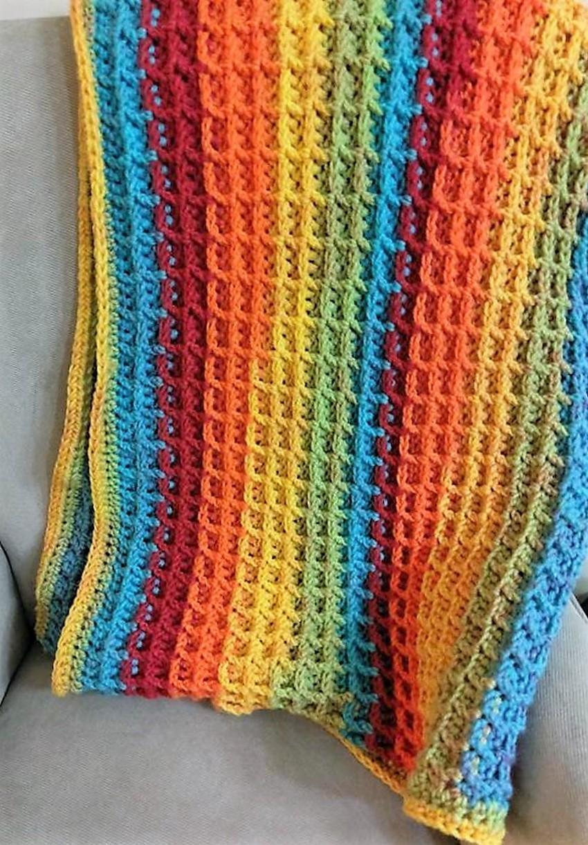 rainbow-waffle-stitch-stroller-blanket