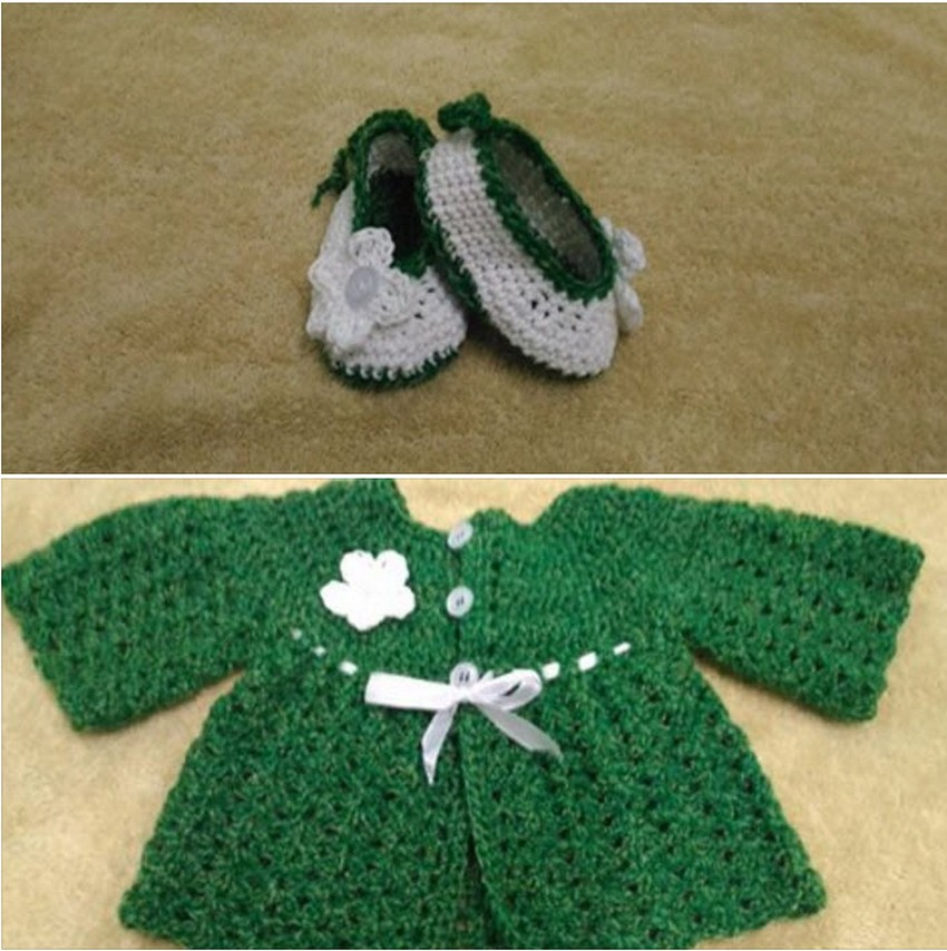 baby-cardigan-and-booties-crocheted