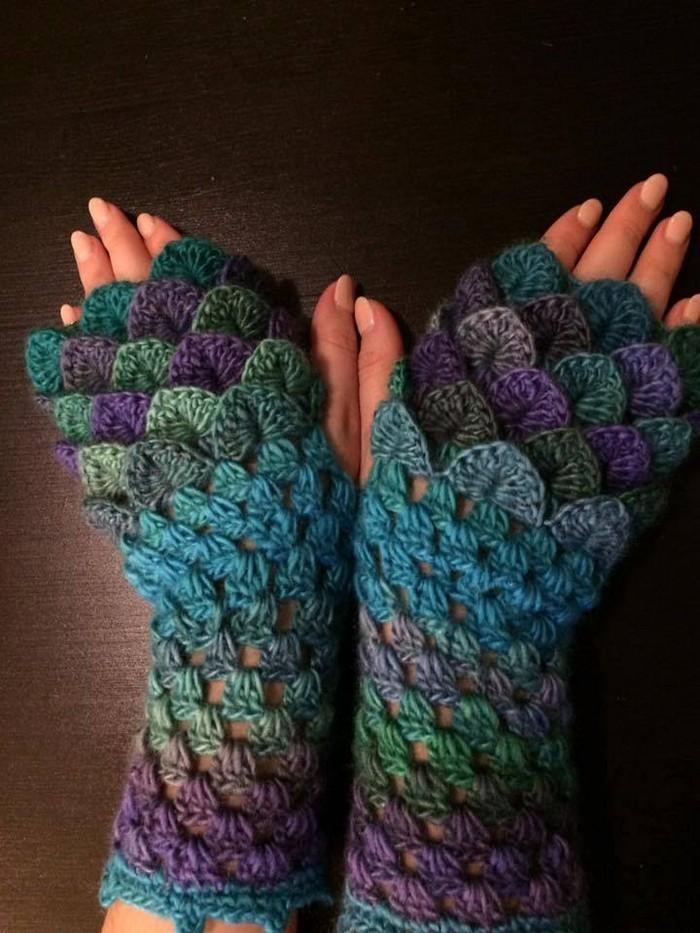 Dragon Scale Finger Less Crochet Gloves 1001 Crochet