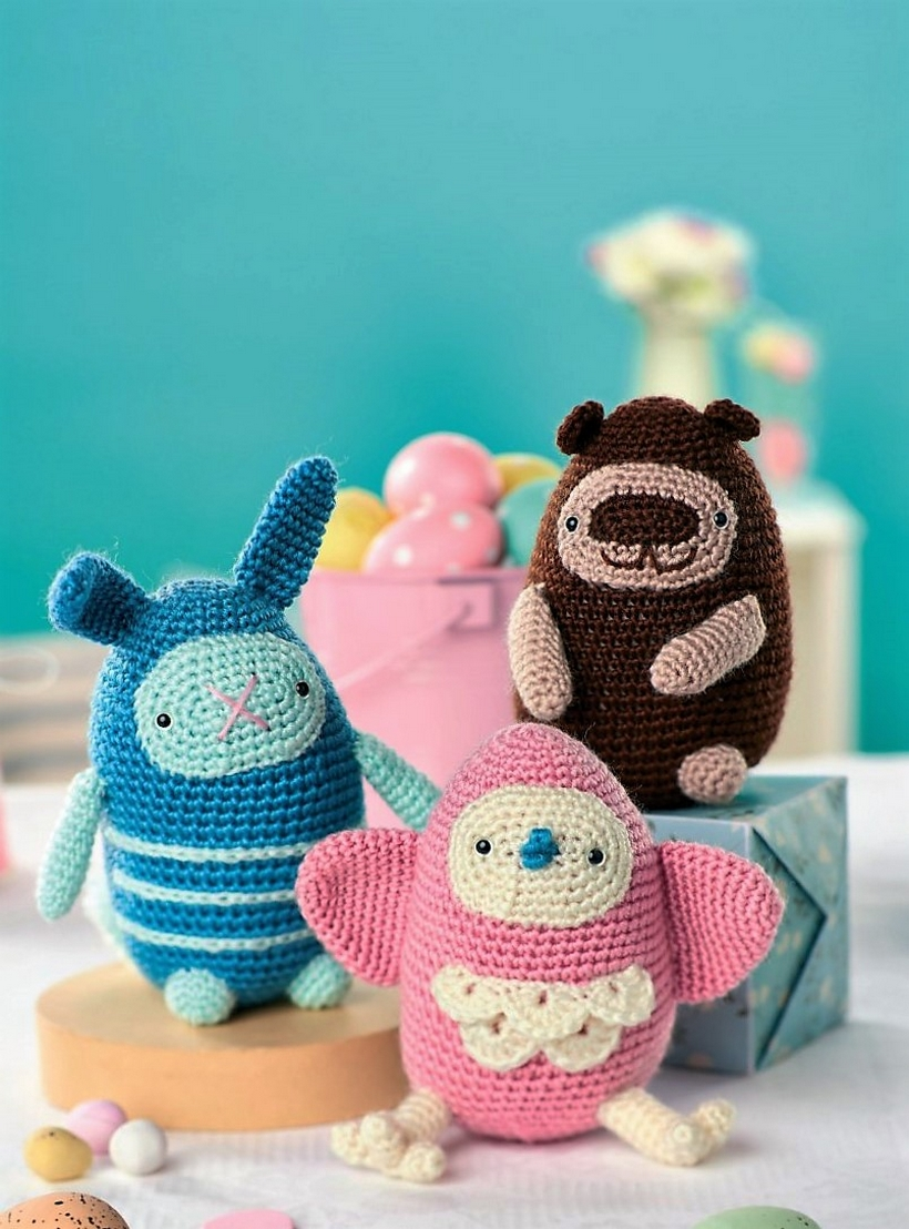 crochet-bird-bunny-and-bear