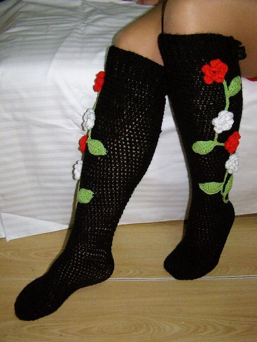 Flower socks crochet PDF pattern