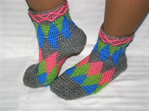 Harlequin socks crochet PDF pattern