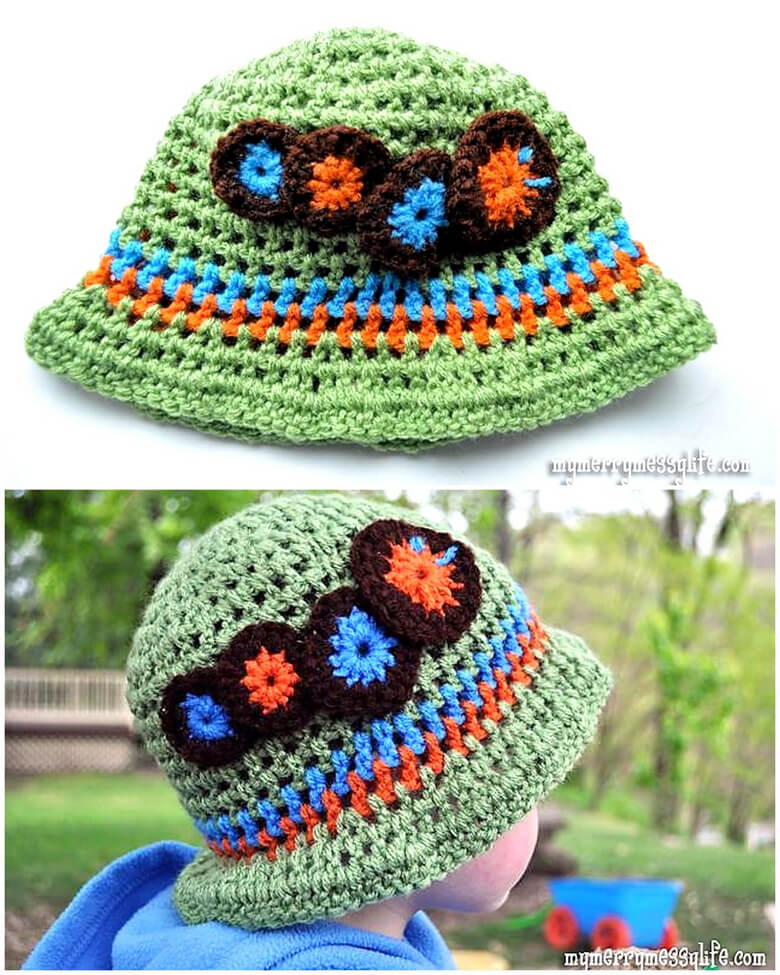 Crochet Caterpillar Toddler Boy Sun Hat