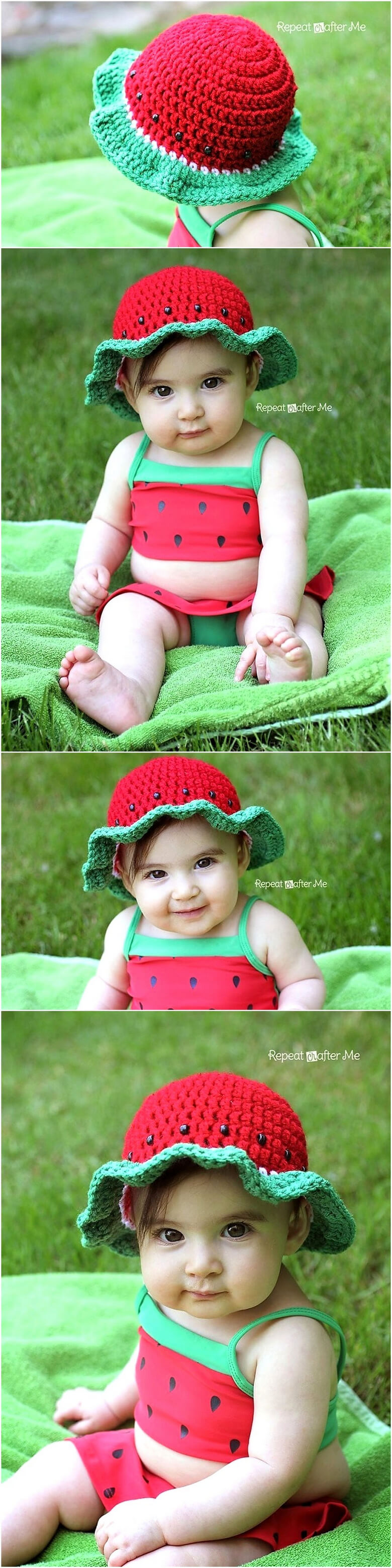 crochet watermelon sun hat