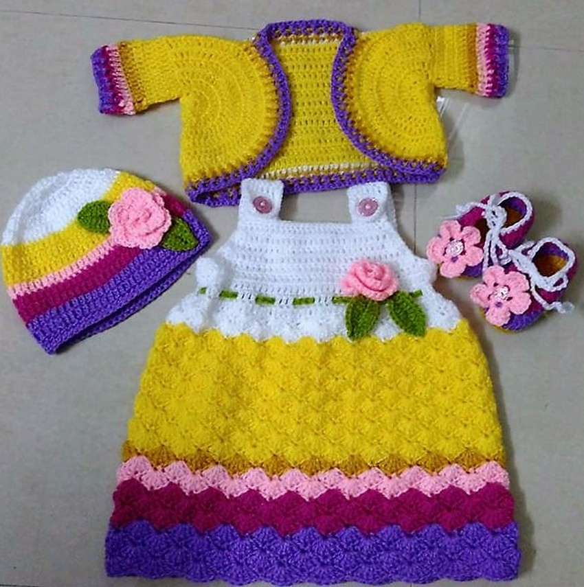 40 Eye Catching Crochet Baby Dresses & Sets